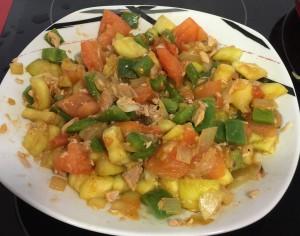 pimiento, cebolla, calabacin y bonito